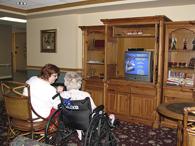 Residents can choose to have a television in their room, but many enjoy watching TV in the lounge areas.
