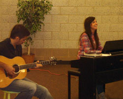 Aaron Shust and Meredith Andrews performing