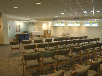 The chapel provides a place for quiet, individual reflection and for scheduled church services.