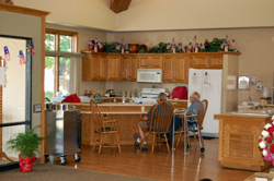Kitchen in gathering area.