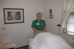 Sister Loraine Brown giving a massage.