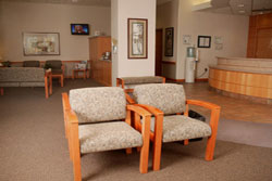 A spacious waiting area, complete with lots of windows, refreshments, television and reading materials is located in the Avera Cancer institute Mitchell lobby.