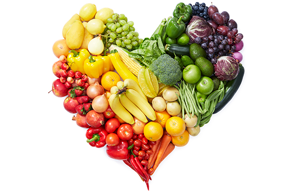 Fruit and Vegetables in Heart Shape