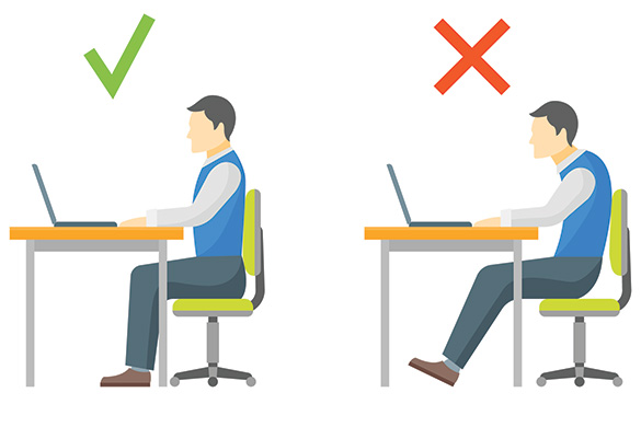 correct and incorrect chair posture