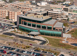 2010 aerial photo of the campus showing the new Avera Cancer Institute.