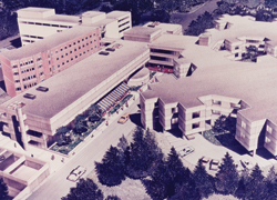 The campus continued to grow in the 1970s. Here is an aerial view circa 1976.