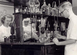Lab technicians working hard in the lab at McKennan Hospital during the 1950s.