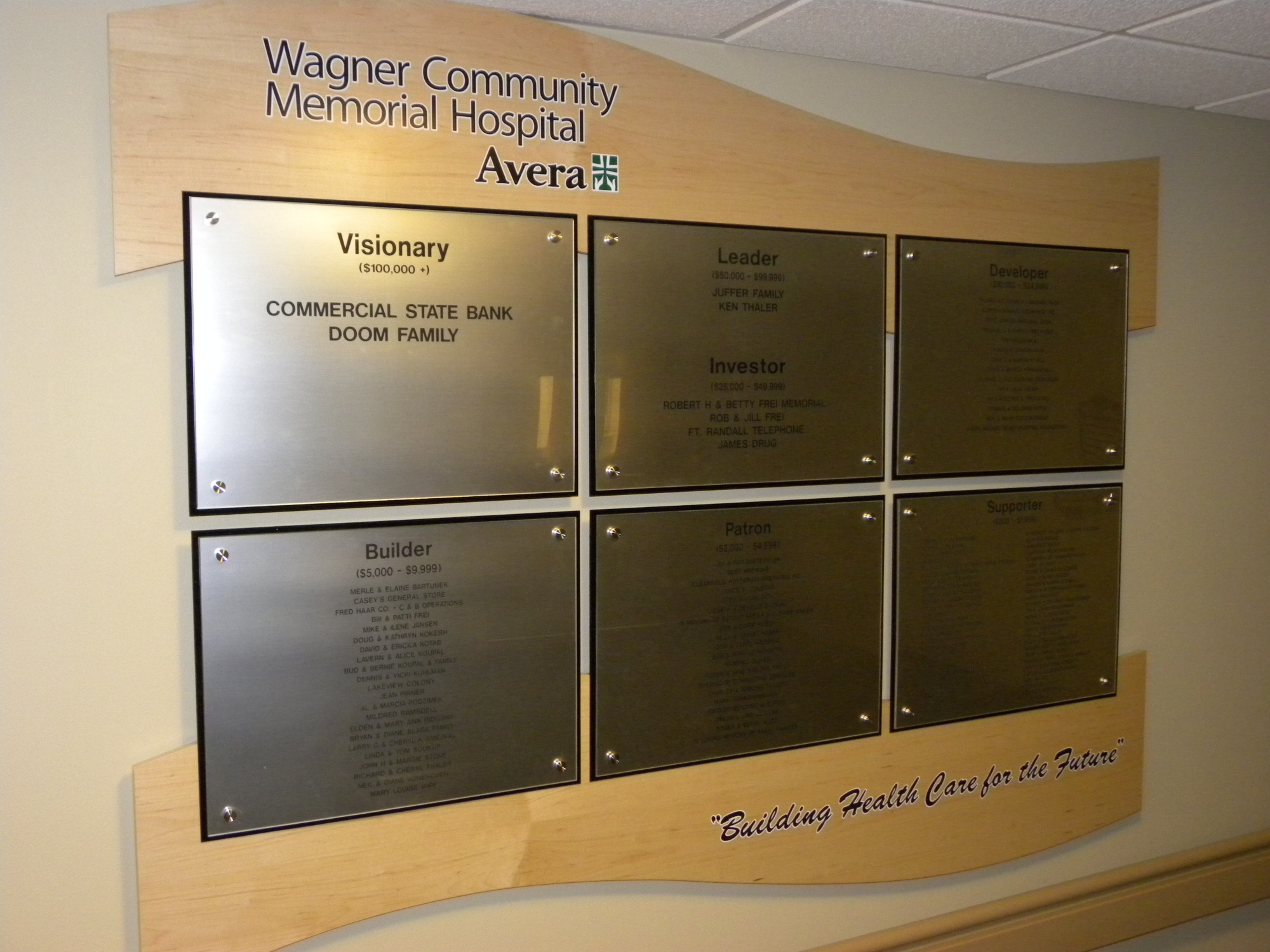 Wagner Community Memorial Hospital Donor Wall
