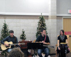 The Willet band playing at Avera Behavioral Health during a Christmas Tour