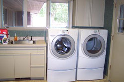 A spacious laundry room, laundry supplies and new laundry facilities are available for guests to use. An iron and ironing board are kept in the laundry room.