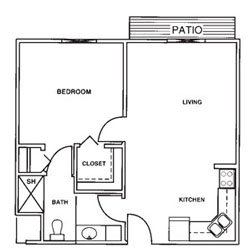 Laurel Oaks One Bedroom Floor Plan