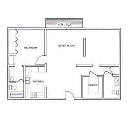 Laurel Oaks One Bedroom Deluxe Floor Plan