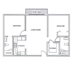 Laurel Oaks Two Bedroom Floor Plan