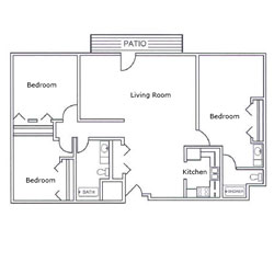 Laurel Oaks Three Bedroom Floor Plan