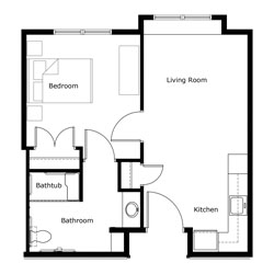The Lofts One Bedroom Floor Plan