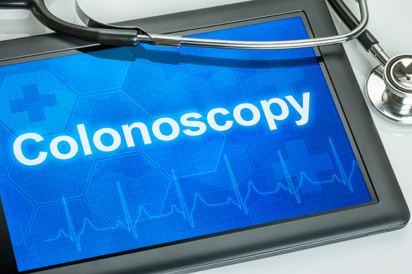 stethescope and tablet that says colonoscopy