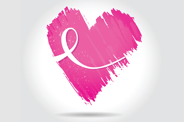 Breast Cancer Ribbon inside Pink Heart Drawing