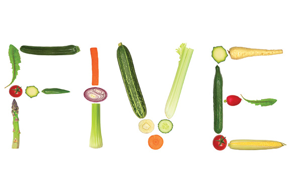 five spelled out in vegetables