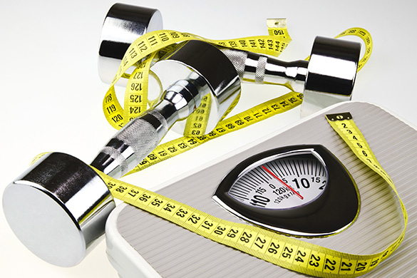 tape measure, weights, scale