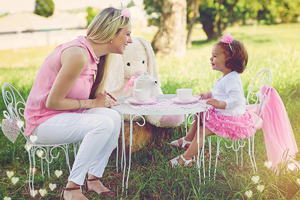 toddler and mom having a tea party