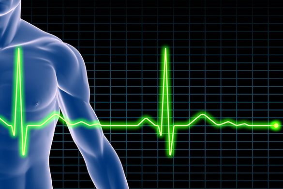electrocardiogram reading over illustration of man