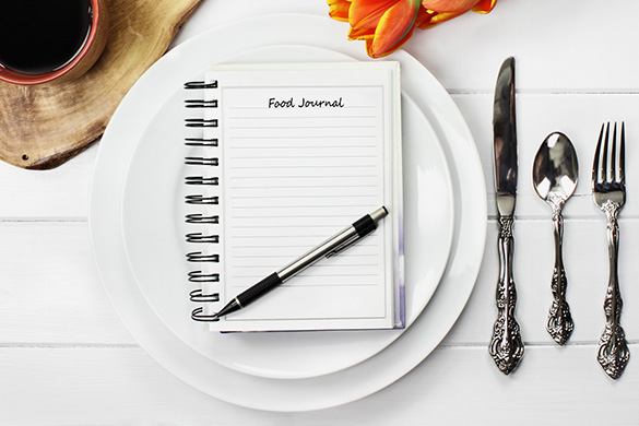 food journal on place setting