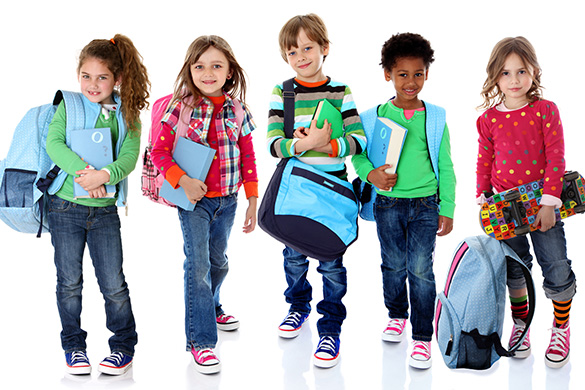 school kids wearing backpacks