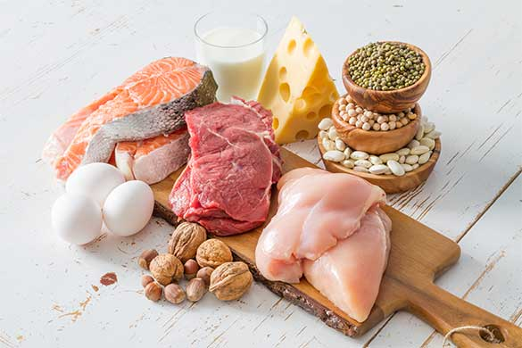 Protein packed foods on cutting board