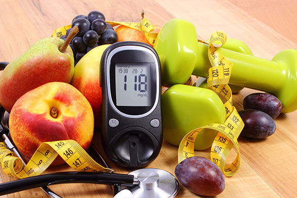 glucometer, fruits, weights, stethescope