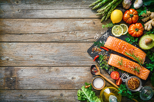 salmon filets with vegetables and herbs