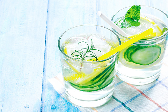water infused with lemon and cucumber
