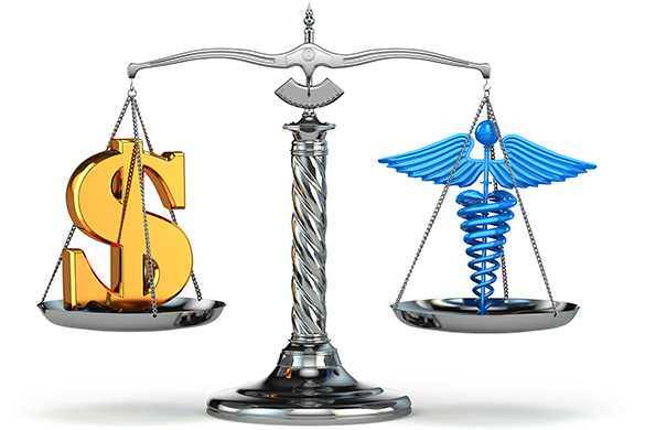 scale weighing healthcare and money