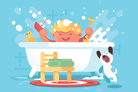 illustration of child playing in tub