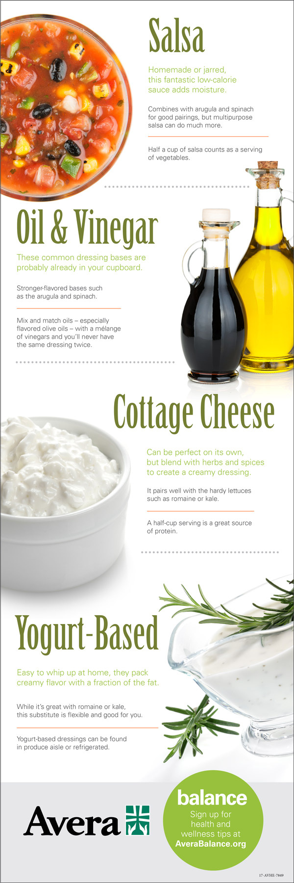 infographic with salad dressing options