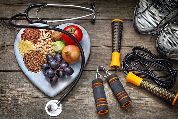 healthy lifestyle includes diet, exercise and checkups