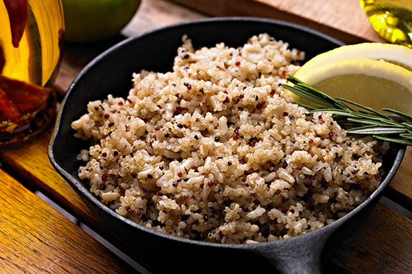 quinoa and brown rice in a skillet