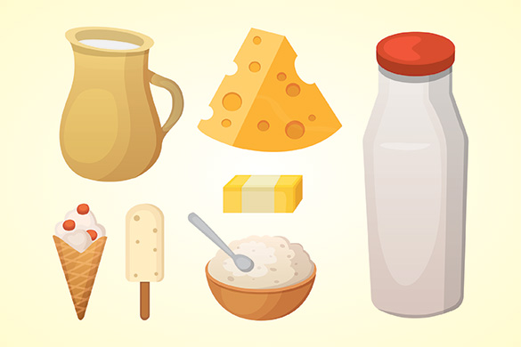 illustration of dairy products