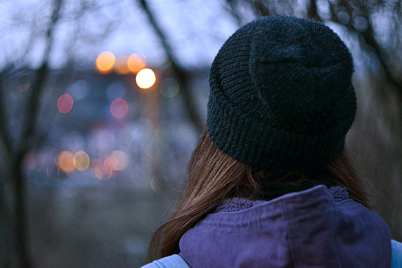 girl watching city lights