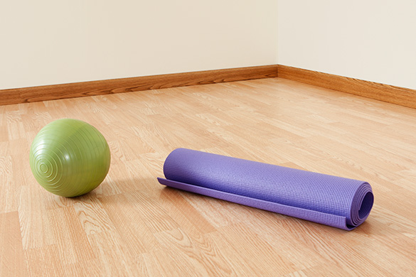 pilates mat and ball