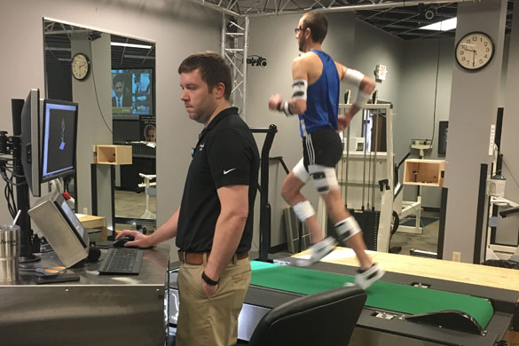 Nathan Schwab having gait analysis
