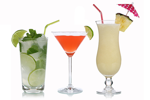 mojito, margarita and pina colada