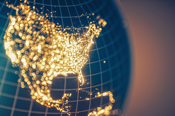 lighted map of the US on a globe