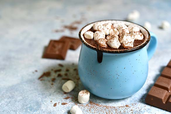 Hot Chocolate in Blue Mug with Marshmallows