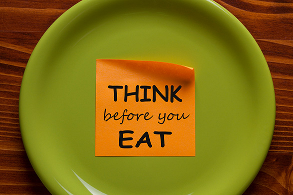 think before you eat note on a plate