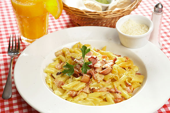 bowl of penne carbonnara