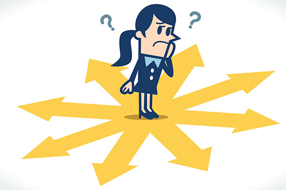 illustration of female confused by direction to go