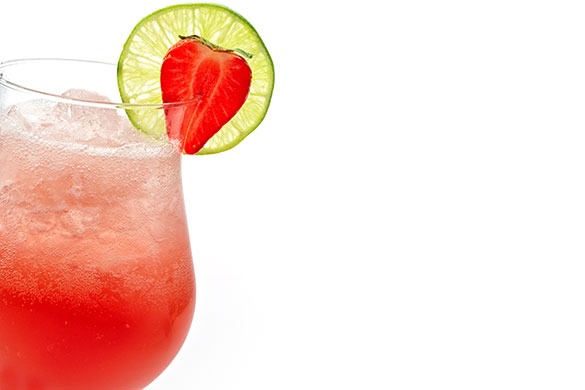 glass of strawberry lime cooler