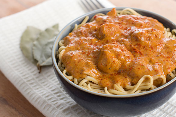 bowl of chicken paprikash and spaghetti noodles