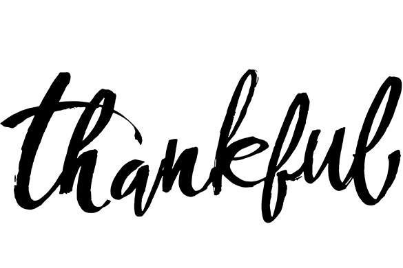 thankful written in black on white background