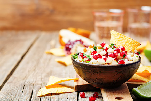 bowl of pomegranate pear salsa